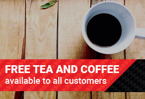 Free tea and coffee available for all customers